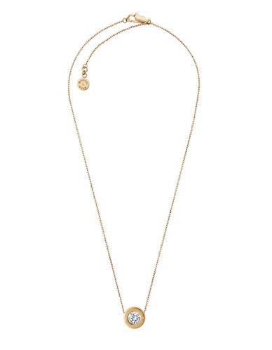 Michael Kors Rhinestone Logo Pendant Necklace-GOLD-One Size