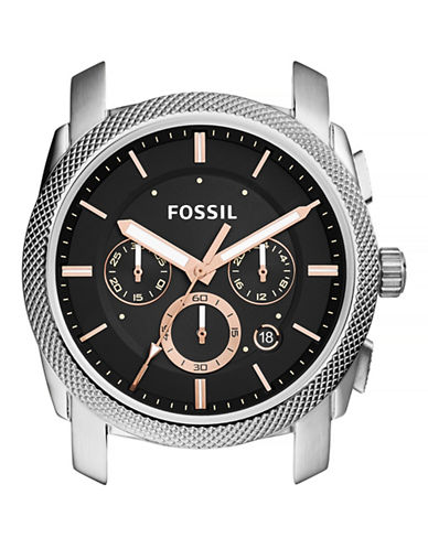 Fossil Machine Chronograph Rose Goldtone Stainless Steel Case-PINK-One Size