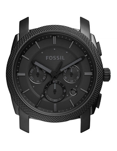 Fossil Machine Chronograph Black Stainless Steel Case-BLACK-One Size