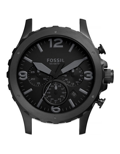 Fossil Nate Chronograph Black Stainless Steel Watch Case-BLACK-One Size