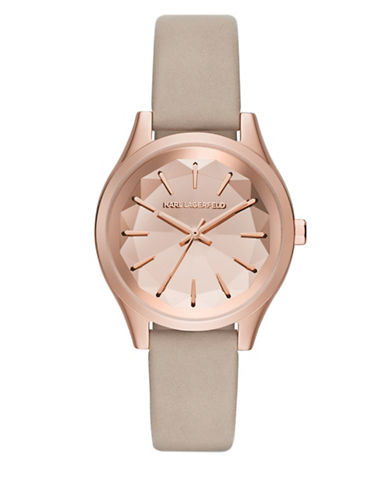 Karl Lagerfeld Janelle Rose Goldtone Leather Strap Watch-BEIGE-One Size