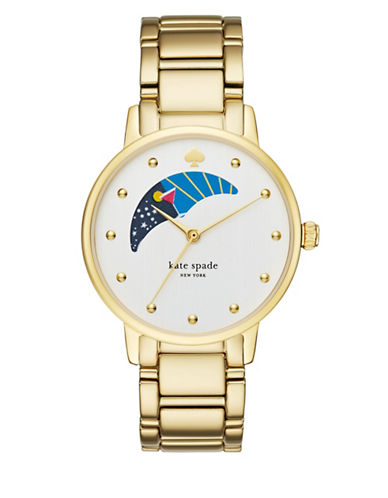 Kate Spade New York Gramercy Moon Phase Dial Goldtone Bracelet Watch-GOLD-One Size