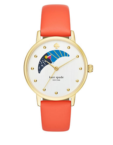 Kate Spade New York Metro Moon Phase Dial Leather Strap Watch-ORANGE-One Size