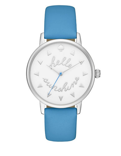 Kate Spade New York Metro Sunshine Leather Strap Watch-BLUE-One Size