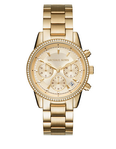 Michael Kors Chronograph Ritz Goldtone Watch-GOLD-One Size