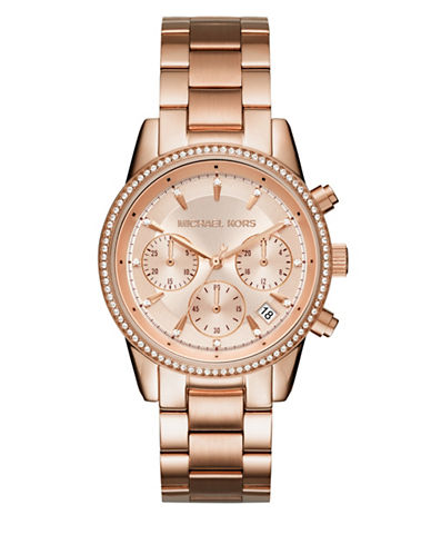 Michael Kors Chronograph Ritz Rose Goldtone Watch-ROSE GOLD-One Size