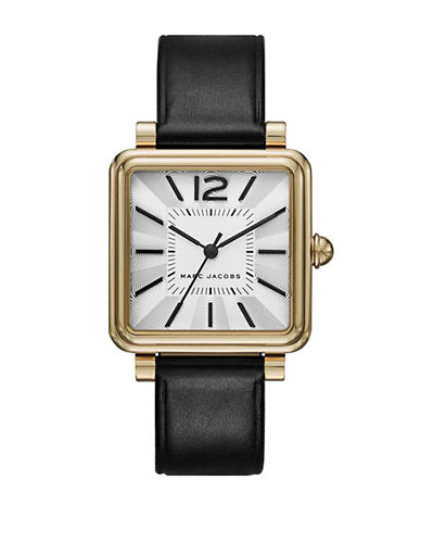 Marc Jacobs Vic Goldtone Black Leather Watch-BLACK-One Size