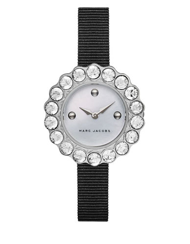 Marc Jacobs Tootsie Glitz Stainless Steel and Grosgrain Strap Watch-BLACK-One Size