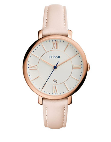Fossil Jacqueline Leather Watch-ROSE-One Size