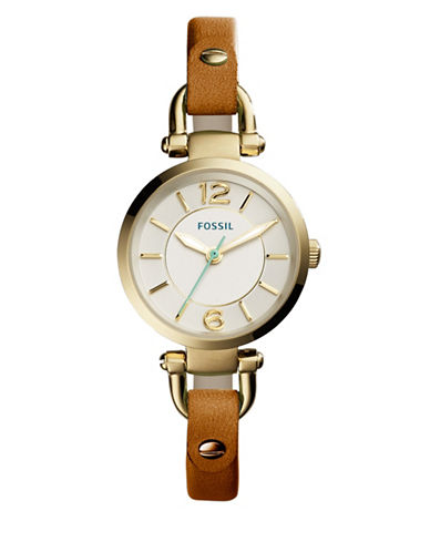 Fossil Georgia Mini Analog Watch-BROWN-One Size