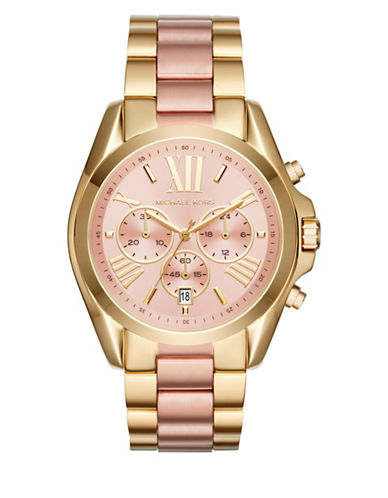 Michael Kors Chronograph Bradshaw Two-Tone Bracelet Watch-GOLD/ROSE GOLD-One Size