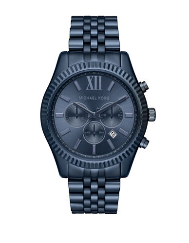 Michael Kors Chronograph Lexington Navy Stainless Steel Bracelet Watch-BLUE-One Size