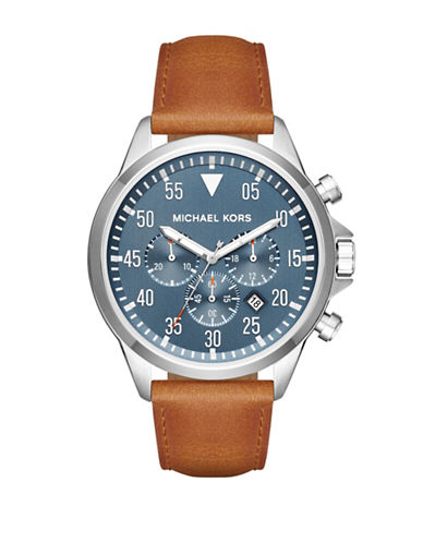 Michael Kors Chronograph Gage Stainless Steel Leather Strap Watch-BROWN-One Size