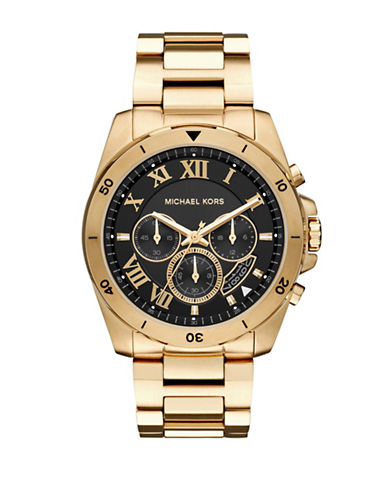 Michael Kors Chronograph Breckan Goldtone Bracelet Watch-GOLD-One Size