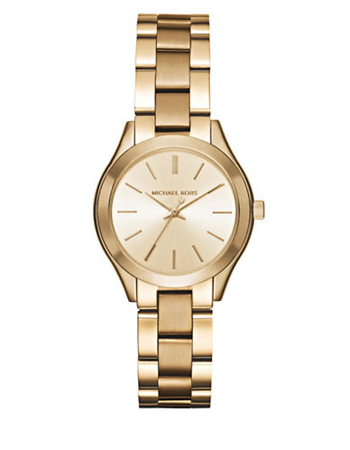 Michael Kors Analog Mini Slim Runway Goldtone Bracelet Watch-GOLD-One Size