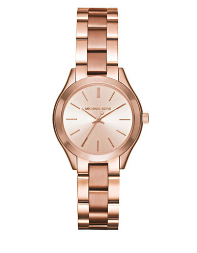 Michael Kors Analog Mini Slim Runway Rose Goldtone Bracelet Watch-ROSE GOLD-One Size
