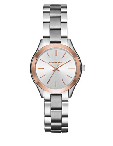 Michael Kors Analog Mini Slim Runway Two-Tone Bracelet Watch-SILVER-One Size