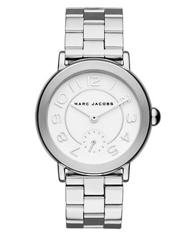 Marc Jacobs Analog Riley Silvertone Bracelet Watch-SILVER-One Size