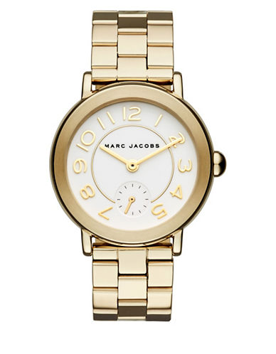 Marc Jacobs Analog Riley Goldtone Bracelet Watch-GOLD-One Size