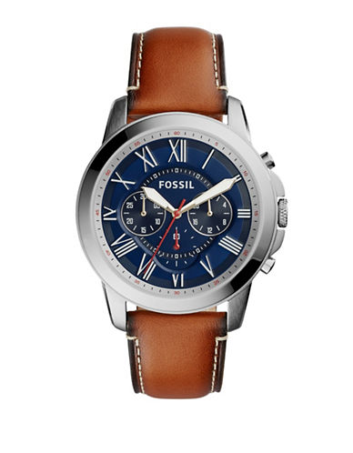Fossil Chronograph Grant Leather Watch-BROWN-One Size