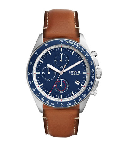 Fossil Chronograph Sport54 Stainless Steel Leather Strap Watch-BROWN-One Size