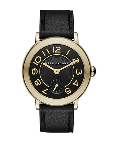 Marc Jacobs Riley Goldtone and Leather Dress Watch CLSC36IPGBLKSTRP-BLACK-One Size