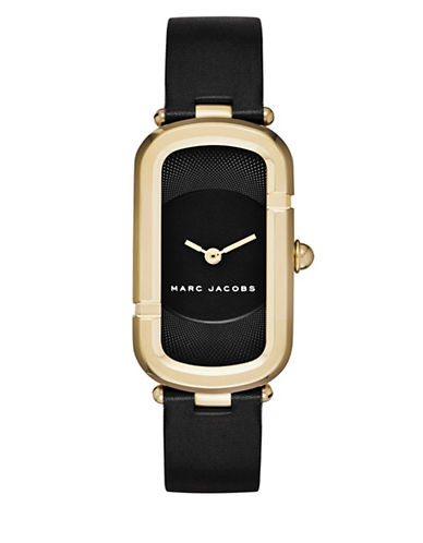Marc Jacobs Analog Jacobs Goldtone Leather Strap Watch-BLACK-One Size