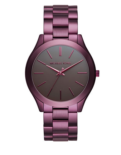 Michael Kors Analog Runway Plum Stainless Steel Bracelet Watch-PURPLE-One Size