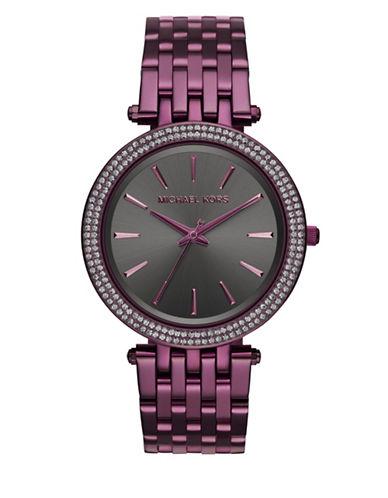 Michael Kors Analog Darci Plum Stainless Steel Bracelet Watch-PURPLE-One Size