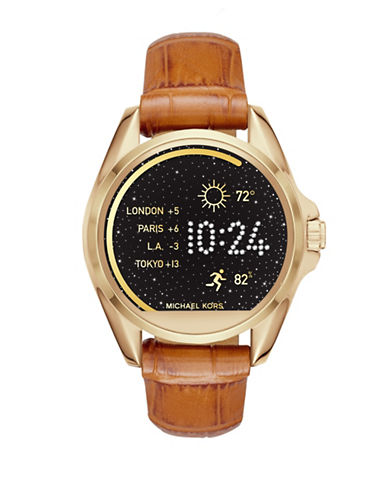 Michael Kors Bradshaw Luggage Croc Watch Strap-BROWN-One Size