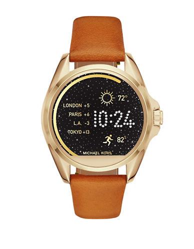 Michael Kors Bradshaw Leather Watch Strap-BROWN-One Size
