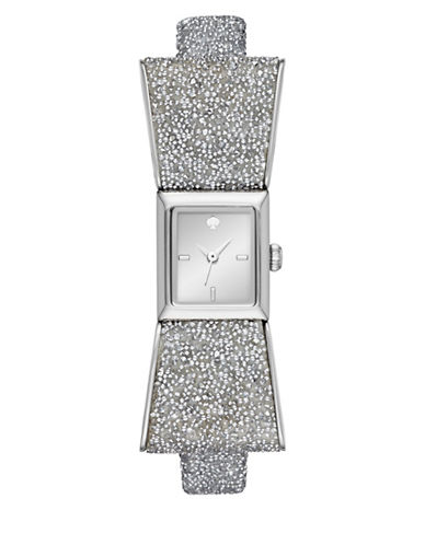 Kate Spade New York Analog Kenmare Sparkle All Night Stainless Steel Leather Strap Watch-SILVER-One Size