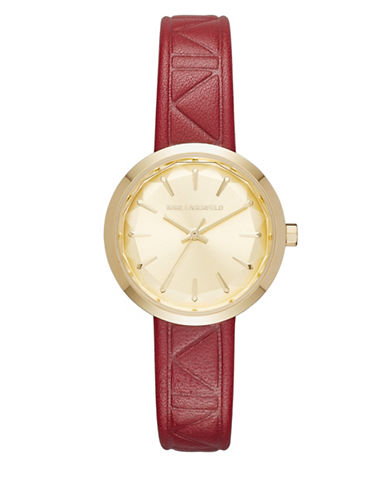 Karl Lagerfeld KL1623 Analog Goldtone Strap Watch-RED-One Size