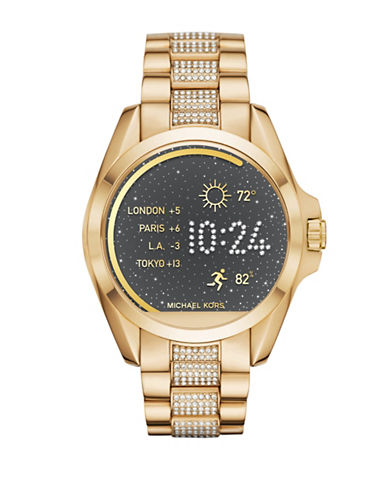 Michael Kors MK Access Bradshaw Goldtone Pave Smartwatch-GOLD-One Size