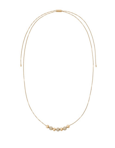 Michael Kors Brilliance Beaded Goldtone Adjustable Slider Necklace-GOLD-One Size