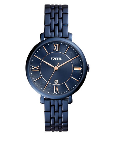 Fossil Analog Jacqueline Blue IP Stainless Steel Bracelet Watch-BLUE-One Size