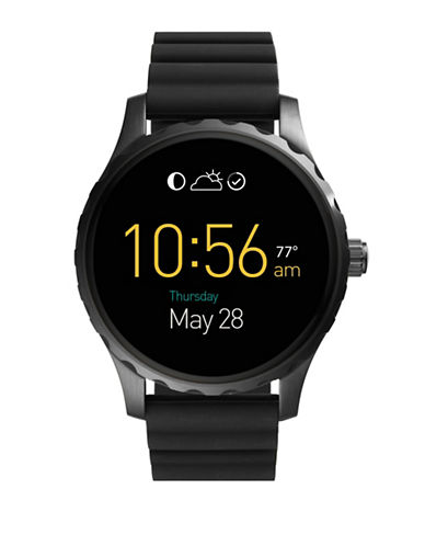 Fossil Gen 2 Smartwatch - Q Marshal Black Silicone-BLACK-One Size