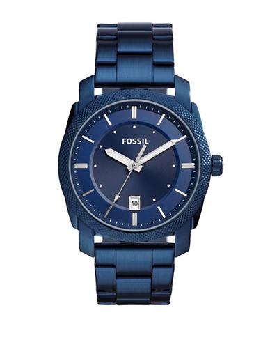 Fossil Analog Machine Blue IP Bracelet Watch-BLUE-One Size