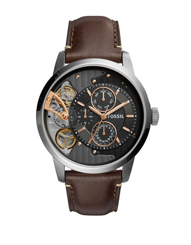 Fossil Grant Twist Stainless Steel and Leather Strap Watch-BROWN-One Size