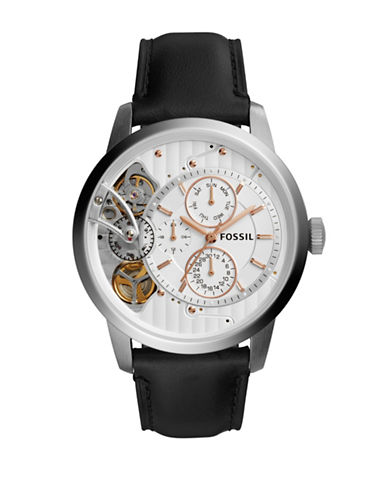 Fossil Grant Twist Stainless Steel and Leather Strap Watch-BLACK-One Size
