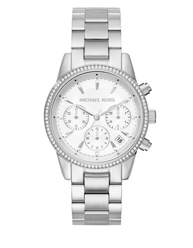 Michael Kors Chronograph Ritz Silvertone Watch-SILVER-One Size