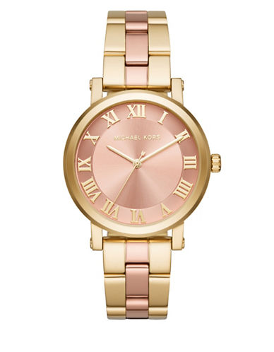 Michael Kors Analog Norie Rose Goldtone and Pink Stainless Steel Watch-GOLD-One Size