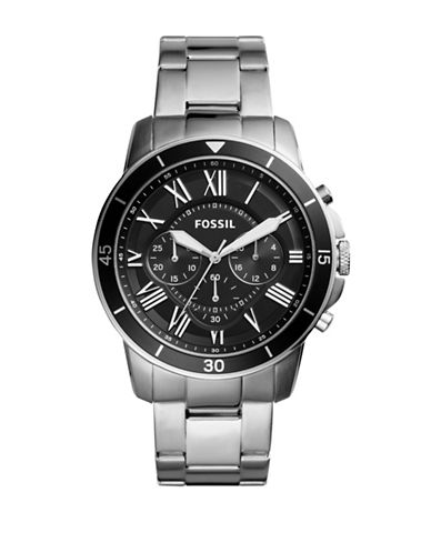Fossil Grant Sport Stainless Steel Chronograph Bracelet Watch-SILVER-One Size
