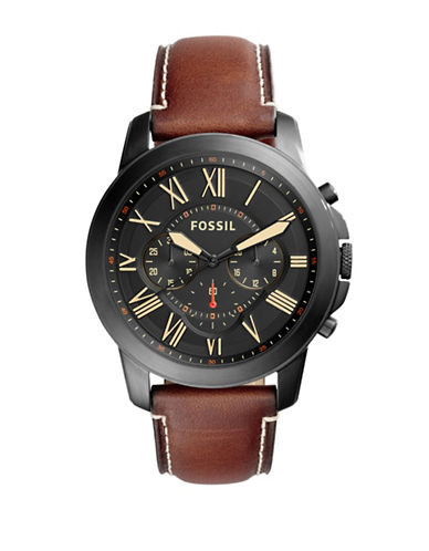 Fossil Grant Leather and Stainless Steel Chronograph Strap Watch-BROWN-One Size
