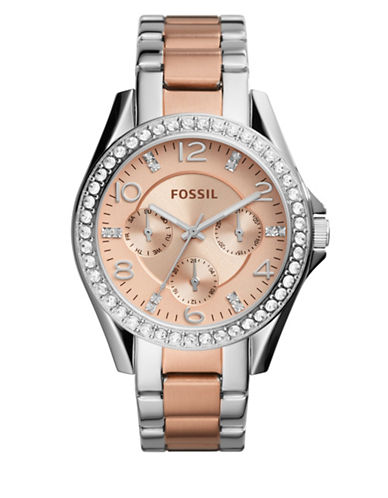 Fossil Multifunction Riley Two-Tone Bracelet Watch-TWO TONE-One Size