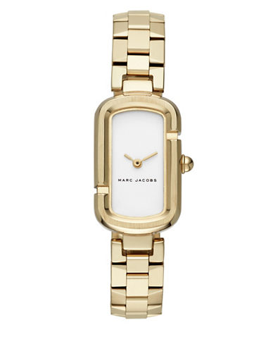 Marc Jacobs Analog Oval Jacobs Goldtone Bracelet Watch-GOLD-One Size