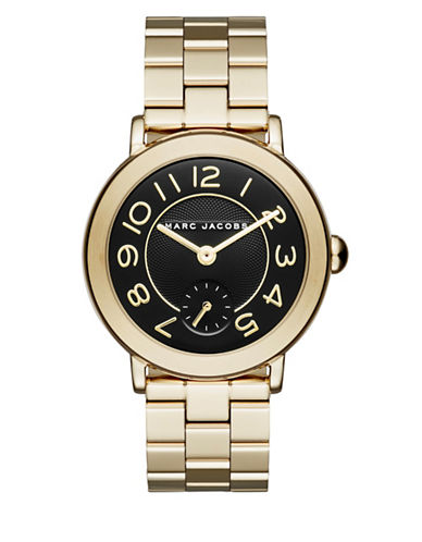 Marc Jacobs Analog Riley Goldtone Bracelet Watch-GOLD-One Size