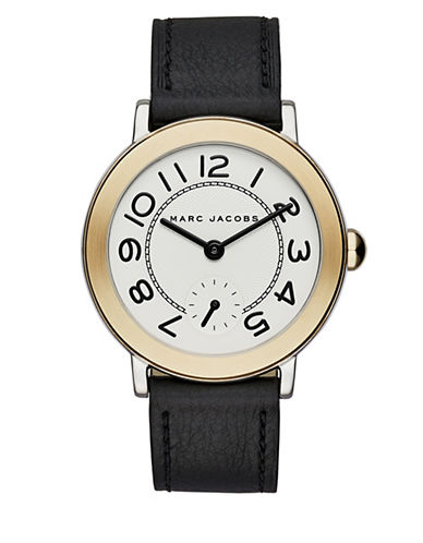 Marc Jacobs Analog Riley Stainless Steel Leather Strap Watch-BLACK-One Size