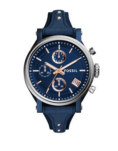 Fossil Chronograph Original Boyfriend Leather Strap Watch-BLUE-One Size