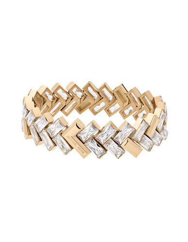 Michael Kors Cubic Zirconia and Crystal Tie Affair Bracelet-GOLD-One Size